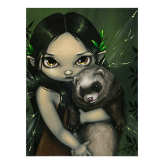 A Ferret and his Fairy ART PRINT fantasy ferrets