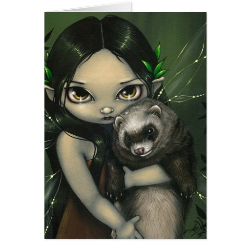 """""""A Ferret and His Fairy"""" Greeting Card"""