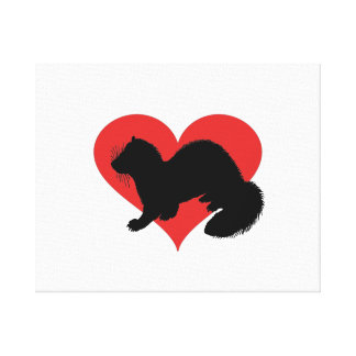 A ferret with a huge red heart canvas print