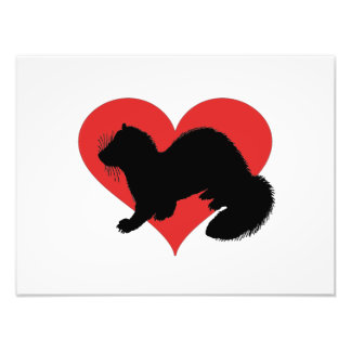 A ferret with a huge red heart photo print