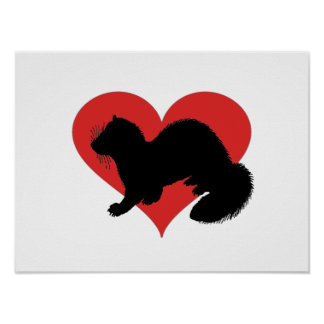 A ferret with a huge red heart poster
