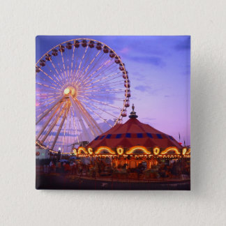 A ferris wheel and carousel at the Navy Pier in 15 Cm Square Badge