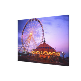 A ferris wheel and carousel at the Navy Pier in Canvas Print