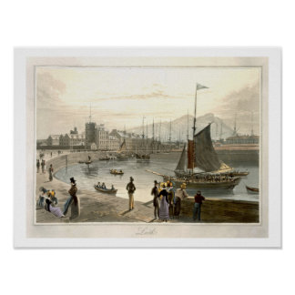 A ferry arriving at Leith, from 'A Voyage Around G Poster