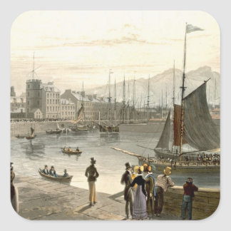A ferry arriving at Leith, from 'A Voyage Around G Square Sticker