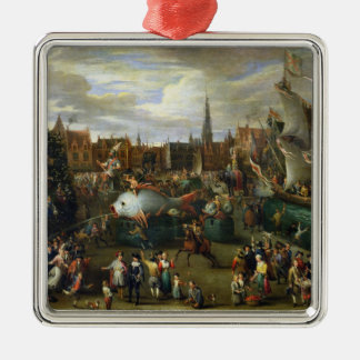 A Festival at Antwerp Silver-Colored Square Decoration