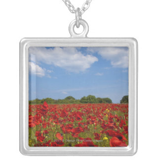 A Field Full Of Red Flowers Silver Plated Necklace