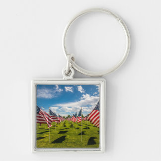 A field of American Flags on V-day Remembrance Silver-Colored Square Key Ring