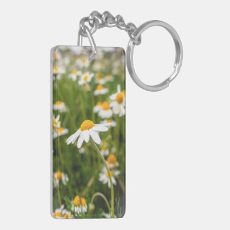 a field of chamomile flowers Double-Sided rectangular acrylic key ring