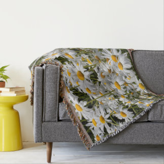 A Field of Oxeye Daisies on a Sunny Summer Day Throw Blanket