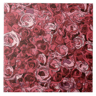 A Field of Pink Roses Ceramic Tile