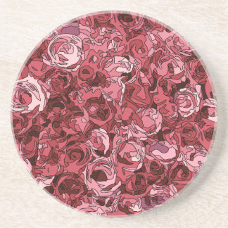 A Field of Pink Roses Drink Coaster