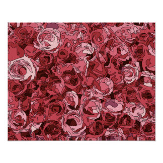 A Field of Pink Roses Posters