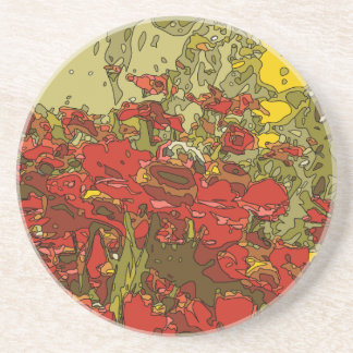 A Field of Red Poppies Coasters