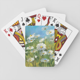 A Field of White Daisies Playing Cards