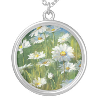 A Field of White Daisies Silver Plated Necklace