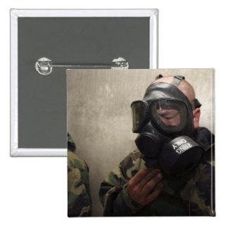 A field radio operator clears CS gas 15 Cm Square Badge