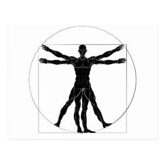 A figure like Leonard Da Vinci s Vitruvian man ana Postcard