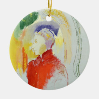 A Figure (w/c on paper) Round Ceramic Decoration