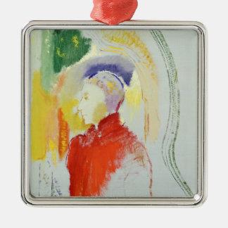 A Figure (w/c on paper) Silver-Colored Square Decoration