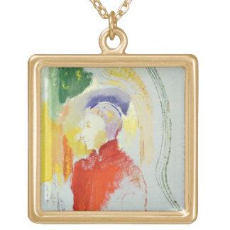 A Figure (w/c on paper) Square Pendant Necklace