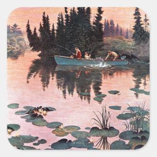 A Fine Catch by John Clymer Square Sticker