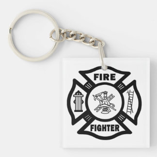 A Firefighter Double-Sided Square Acrylic Key Ring