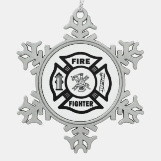 A Firefighter Pewter Snowflake Decoration
