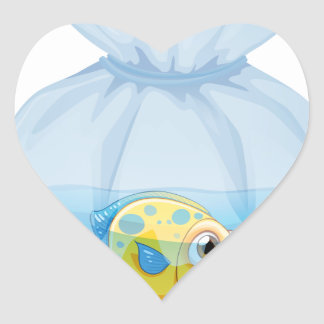 A fish inside the plastic pouch heart sticker