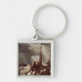 A Fisherman Pulling in a Net, 1868 Silver-Colored Square Key Ring