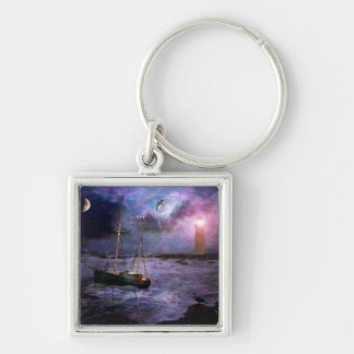 A Fishermans Tale Silver-Colored Square Key Ring