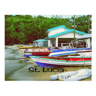 A fishing village in St. Lucia Postcard