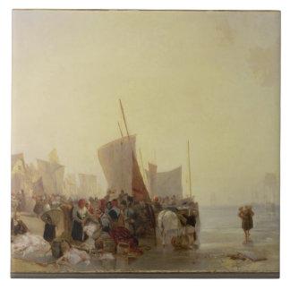 A Fishmarket Near Boulogne, c.1824 (oil on canvas) Tile