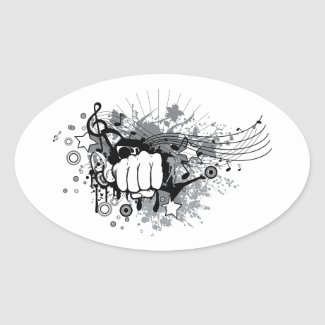 A fist that breaks the music  oval sticker
