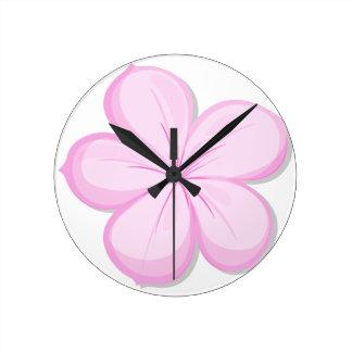 A five-petal pink flower wall clock