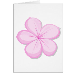 A five-petal pink flower greeting card