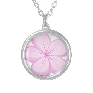 A five-petal pink flower necklace