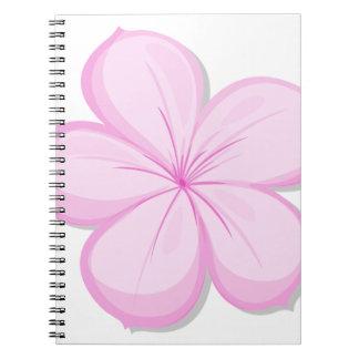 A five-petal pink flower spiral note books