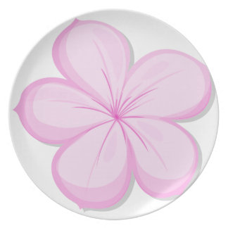 A five-petal pink flower party plates