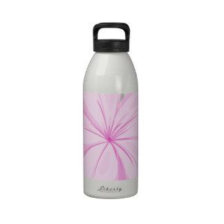 A five-petal pink flower reusable water bottle