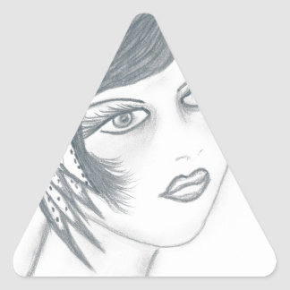 A Flapper Girl with Bow Triangle Sticker