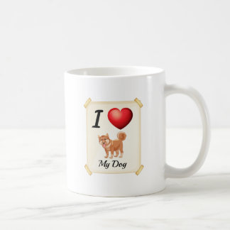 A flashcard showing the love of a dog basic white mug