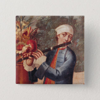 A Flautist, detail from a screen 15 Cm Square Badge
