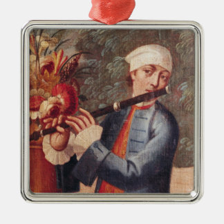 A Flautist, detail from a screen Christmas Ornament