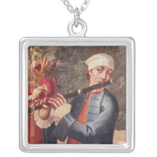 A Flautist, detail from a screen Silver Plated Necklace