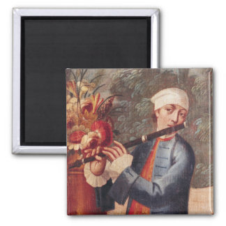A Flautist, detail from a screen Square Magnet