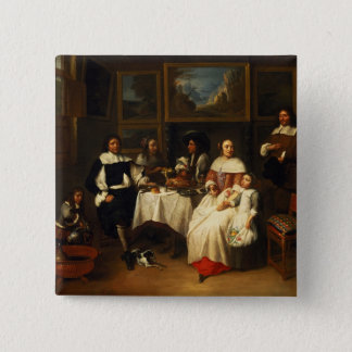 A Flemish Family at Dinner 15 Cm Square Badge