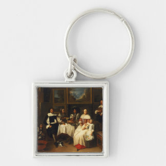 A Flemish Family at Dinner Key Ring