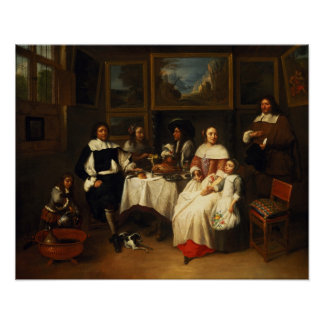 A Flemish Family at Dinner Poster