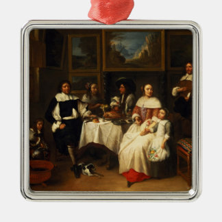 A Flemish Family at Dinner Silver-Colored Square Decoration